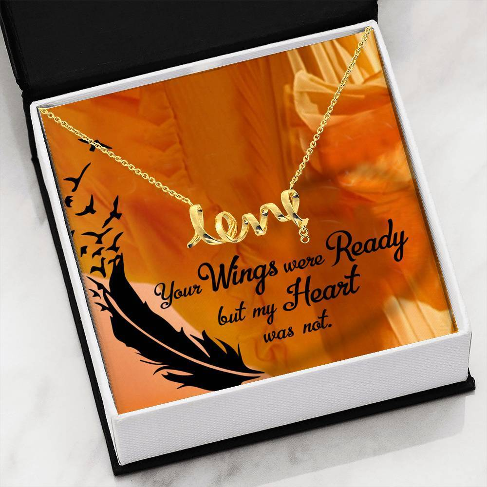 Your Wings Were Ready Scripted Love Pendant Necklace Message Card Express Your Love Gifts