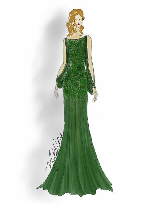 Green Lace Gown | Art Print