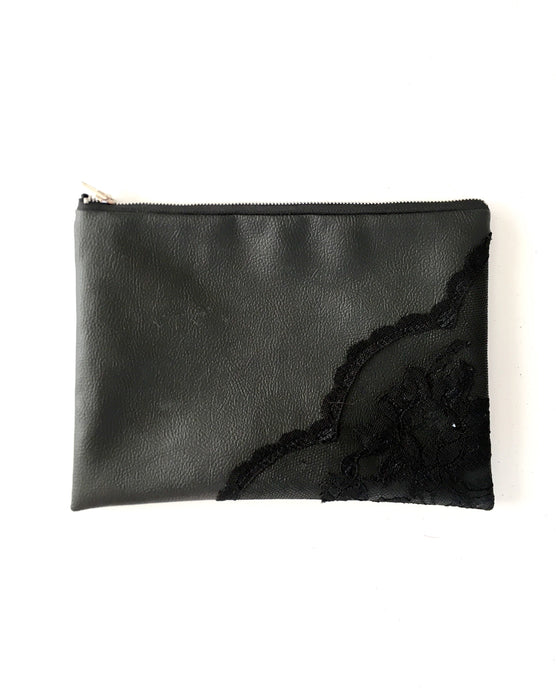 Vinyl Clutch with Black Lace