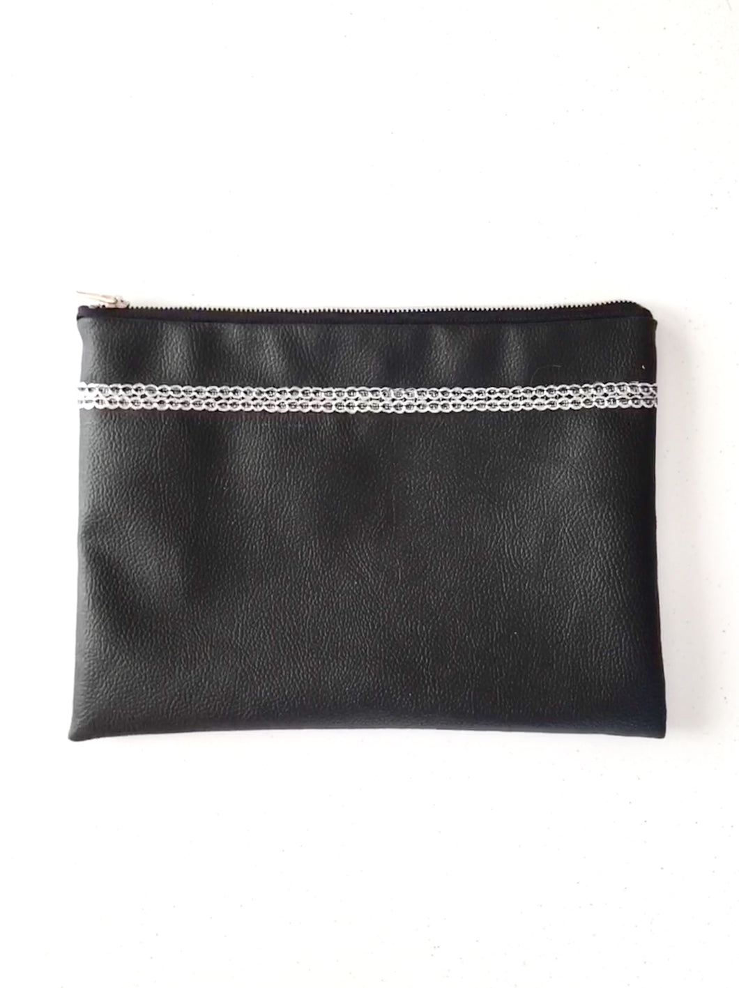Vinyl Clutch with Silver Trim