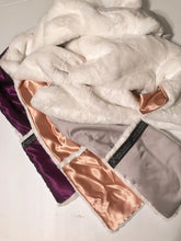 Faux rabbit fur scarf gold purple silver satin lined reversible pockets soft silky furry plush fuzzy winter accessory