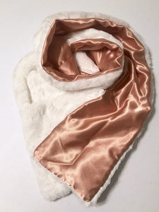 Faux rabbit fur scarf gold satin lined reversible pockets soft silky furry plush fuzzy winter accessory