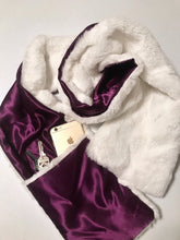 Faux rabbit fur scarf purple amethyst satin lined reversible pockets soft silky furry plush fuzzy winter accessory