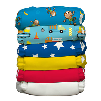 6 Diapers 12 Inserts Monkey Adventure One Size Hybrid AIO