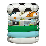 6 Diapers 12 Inserts Soccer Star One Size Hybrid AIO