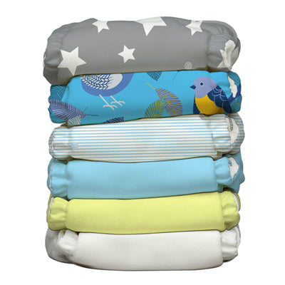 6 Diapers 12 Inserts Twitter Star One Size Hybrid AIO