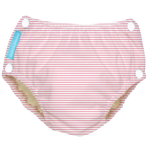 Reusable Easy Snaps Swim Diaper Pencil Stripes Pink Large
