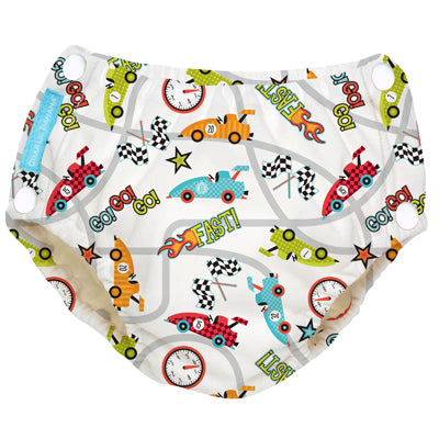 Reusable Easy Snaps Swim Diaper Racecar Medium