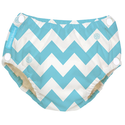 Reusable Easy Snaps Swim Diaper CB Blue Chevron Large
