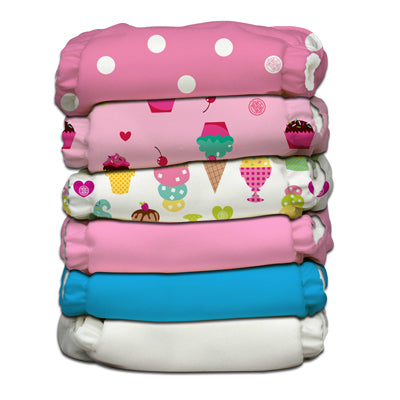 6 Diapers 12 Inserts Organic Popsicle One Size