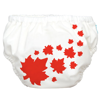 2-in-1 Swim Diaper & Training Pants Maple Leaf White Small