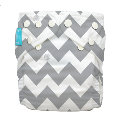 Diaper 2 Inserts Grey Chevron One Size Hybrid AIO
