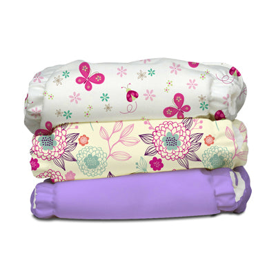 3 Diapers 6 Inserts Happy Butterfly One Size Hybrid AIO