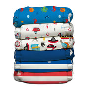 6 Diapers 12 Inserts Ocean Flair One Size Hybrid AIO