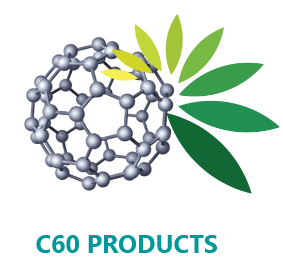 An image of C60 and bottles of C60 antioxidant products.