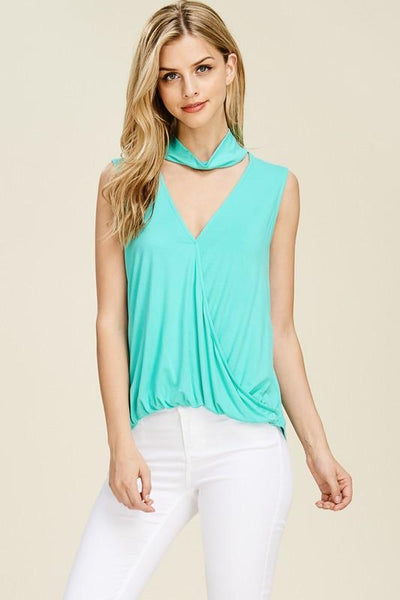 V-Neck Choker Tank Blouse