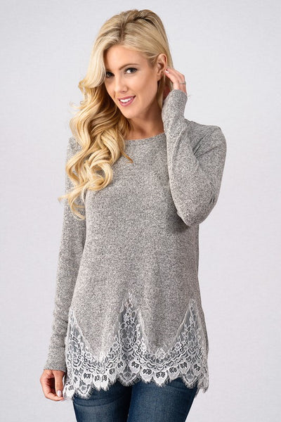Z...Lace Trim Detail Long Sleeve