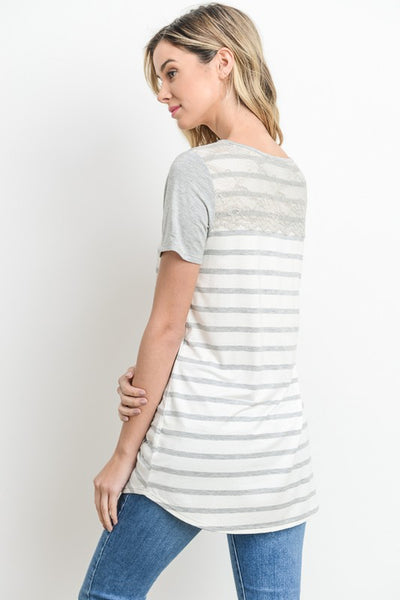 Z...Striped and Eyelet Tee