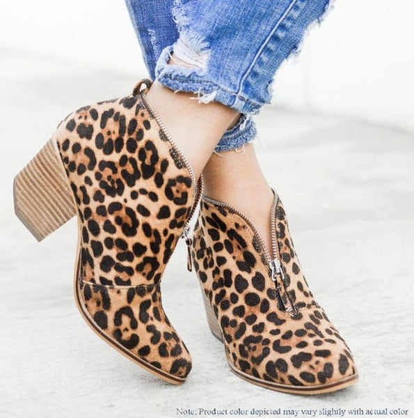 Leopard Zip-Up Booties