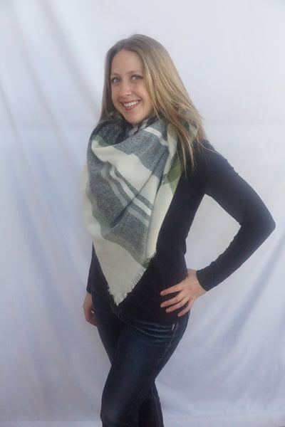 White/Blue Plaid Blanket Scarf