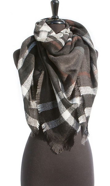 Z...Black/Brown Plaid Blanket Scarf