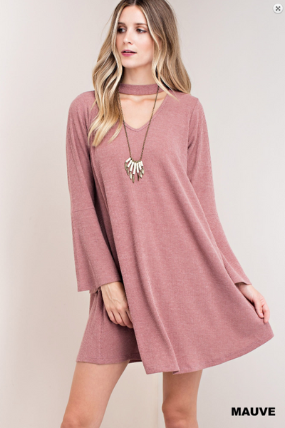 Bell Sleeve Dress with Neckband