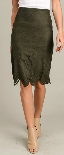 Suede Lace Detail Skirt