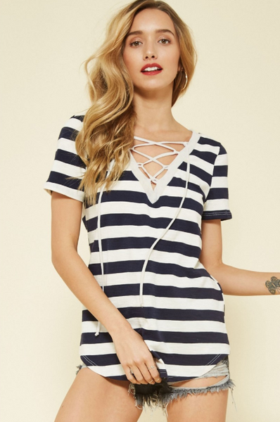 Tie up Striped Tee
