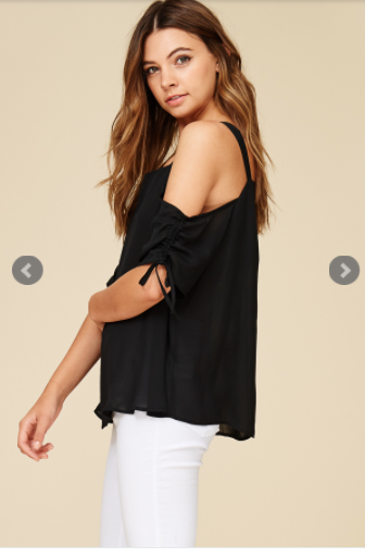 Z...Ruched Sleeve Cold Shoulder Blouse
