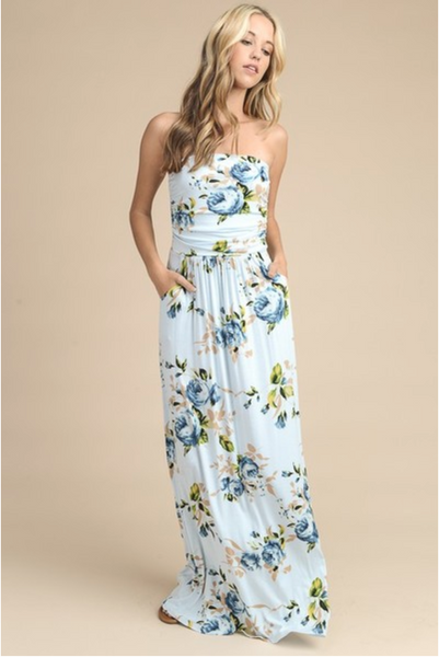 Floral Printed Strapless Maxi