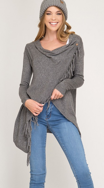 Long Sleeve Sweater Cardigan Wrap