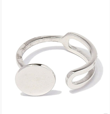 Flat Disk Sterling Silver Ring