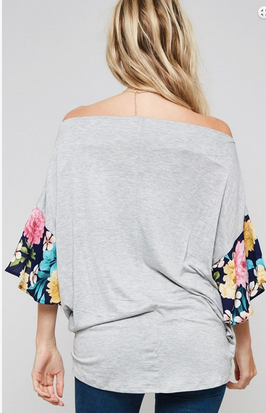 Off Shoulder Floral Ruffle Sleeve Top