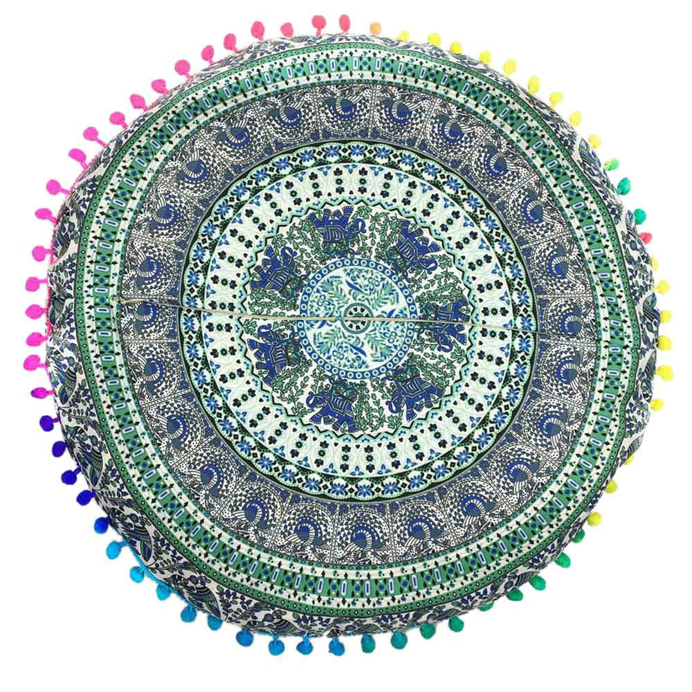 Aluna Round Colorful Mandala Pillow Case