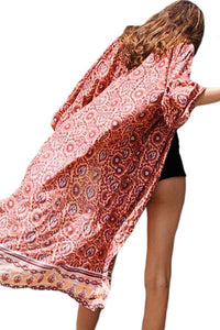 Aluna Indian Print Long Beach Kimono