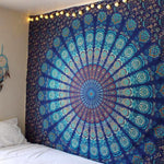 Aluna Indie Boho Mandala Bed Sheet / Tapestry / Hanging Wall / Home Decor