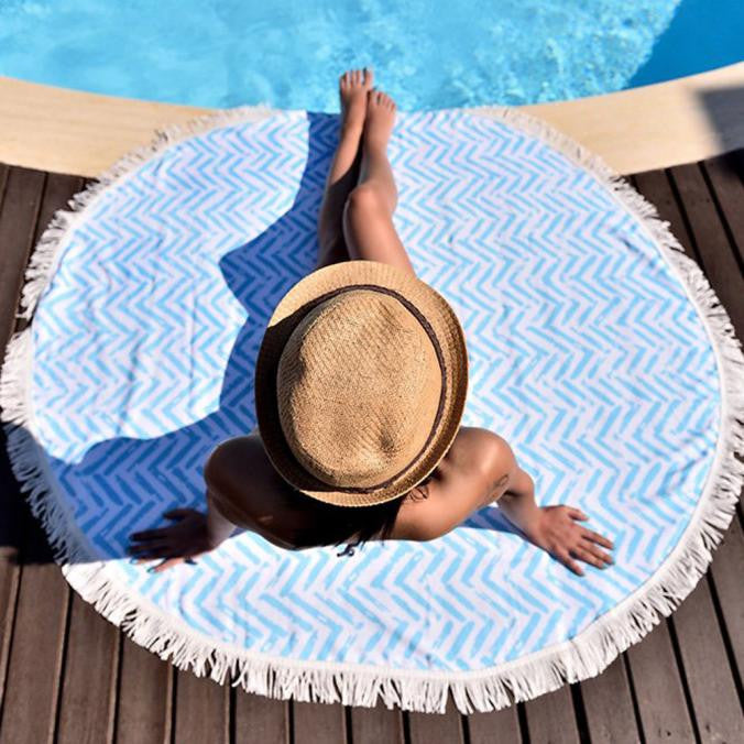 Aluna Round Modern Blue Pattern Boho Beach / Outdoor Tapestry
