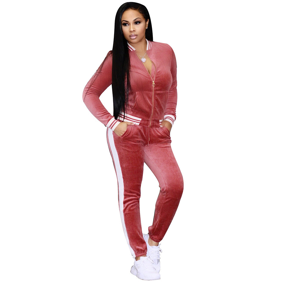 New 2018 Women S Two Piece Velour Jumpsuit Hooded Nation