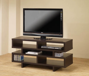 TV Console With 5 Open Compartments Cappuccino