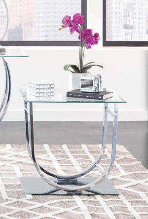 Contemporary Chrome End Table
