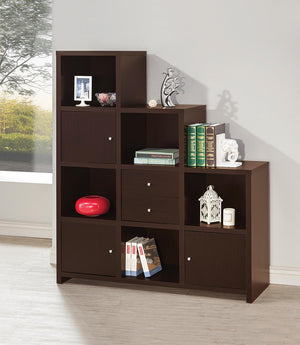 Bookcase With Cube Storage Compartments Cappuccino