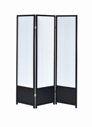 3-Panel Folding Floor Screen Translucent And Black