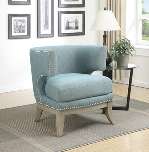 Barrel Back Accent Chair Blue And Weathered Grey