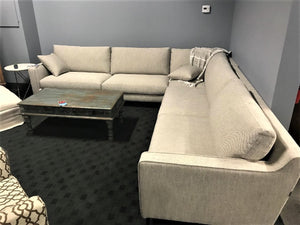 Beige Fabric Down Large Sectional