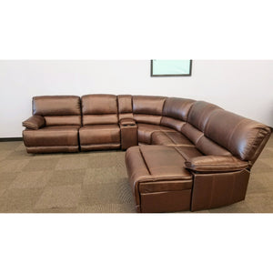 The Cloud Chestnut Top Grain Leather Modular Sectional