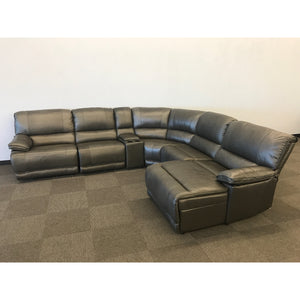 The Cloud Grey Top Grain Leather Modular Sectional