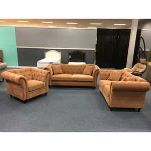 The Cambridge Tufted Living Room Set Copper