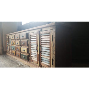 RECYCLED TIMBER 9 DRAWERS 4 SHUTTER DOOR PLASMA CABINET