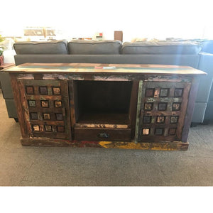 RECYCLED TIMBER 1 DRAWER 2 DOOR PLASMA CABINET