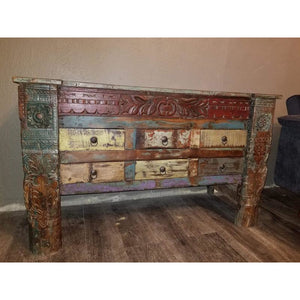 RECYCLED TIMBER CARVED 6 DRAWERS CONSOLE TABLE